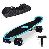 """Yorbay (Upgrade Version) 22"""" Monopatín Skateboard Retro con la Cubierta del Rugosa? la Bolsa y T-Herramientas ABEC- 7 Rodamiento Ruedas LED-PU 59MM hasta 100kg"""