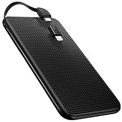 Kaufen Spigen Essential F706L Kraft 5000mAh [Eingebautes Micro-Kabel] [Lightning 8-Pin-Stecker enthalten] Ultra Slim und Light Power Bank Tragbares Ladegerät für IOS, Android-Geräte - Schwarz