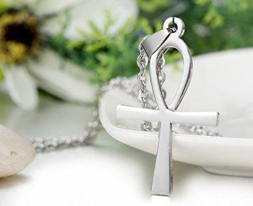 JewelryWe Joyería Collar con Cruz Colgante de Hombre Mujer, Cadena 54cm, Crucifijo Ankh Egipto, Acero Inoxidable, Color Plata (con Bolsa de Regalo) 5