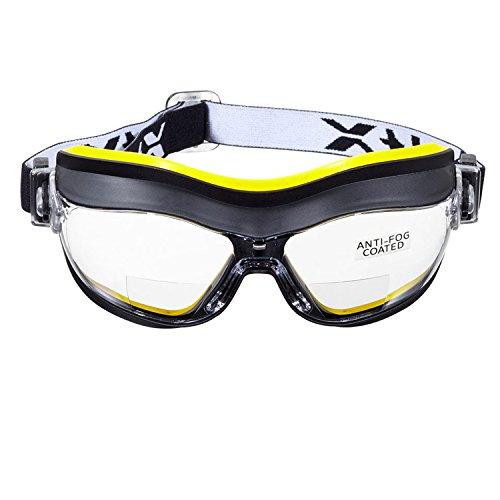 voltX DEFENDER (TRANSPARENTE +2.0) Gafas de seguridad bifocales compactas y ventiladas, safety goggles Certificado CE EN166FT, Con revestimiento antiempañamiento
