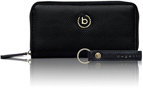 Bugatti Passione Geldbörse Damen Groß - Frauen Geldbeutel mit Reißverschluss Lang - Damengeldbörse Langbörse Portemonnaie im Querformat, Schwarz