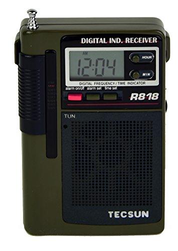 Tecsun R818 Portable 8-Band AM/FM Shortwave Pocket Radio with Digital Alarm Clock