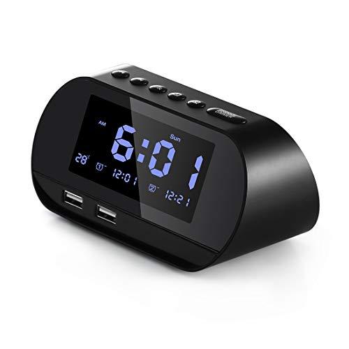 Aitsite Radiosveglia, FM Digitale Sveglia con Doppie Porte di Ricarica USB, Doppio Allarme con 5...