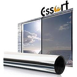 Essort Vinilo para Ventana 90x400cm Privacidad Pegatina Cristal Protector de Electricida Estática, Sola Lámina Privacidad de Una Manera Espejo Película Adhesiva (Plata)