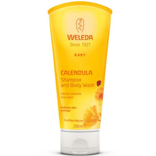 WELEDA Baby Calendula Waschlotion & Shampoo (1 x 200 ml) - milde Reinigung für hochsensible Haut