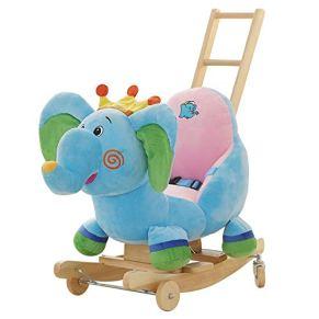 LIULAOHAN Caballo de oscilación del bebé, Rocking Horse Niños con Varilla de Empuje Caballo de Madera de Doble Uso Música Silla Mecedora para bebés Regalo de Juguetes educativos 59 * 42 * 54 cm