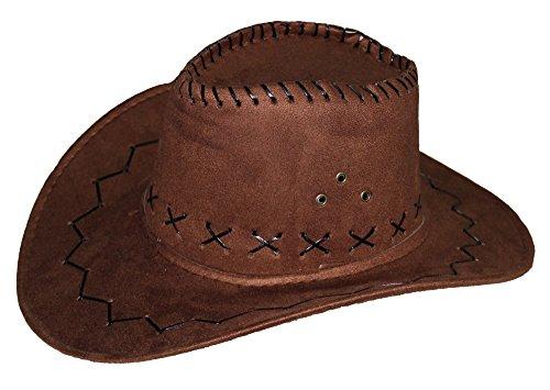 Foxxeo 35194   Cowboy Hut für Erwachsene in brauener Leder-Optik   Ideal für Männer und Frauen an Karneval Fasching Party Cowgirl Cowboyhut Damen Western Filz