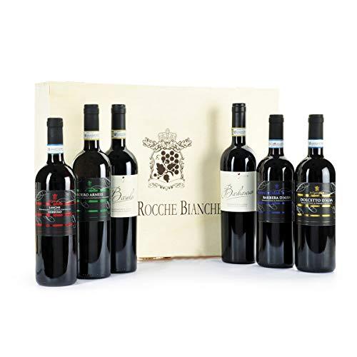 BARBERA D'ALBA DOC, Barolo Docg, Barbaresco Docg, Nebbiolo Doc, Dolcetto d'Alba DOC, Roero Arneis DOCG, Regalo Vini Piemontesi in Cassetta Legno Originale - Confezioni regalo vini pregiati