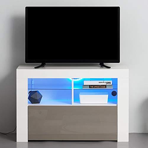 Keinode - Moderno mobile per TV a LED, corpo bianco opaco, con parte frontale lucida e luci RGB,...