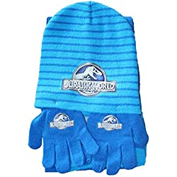 Factorycr SET 3 PCS JURASSIC WORLD GORRO+GUANTES + BUFANDA AZUL
