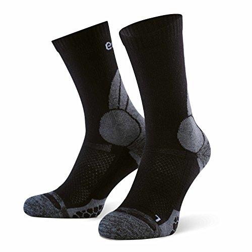 Eono Essentials – Calcetines de senderismo y trekking de lana merino para hombre y mujer (paquete de 2 uds.), tallas 43-46, Negro-Gris