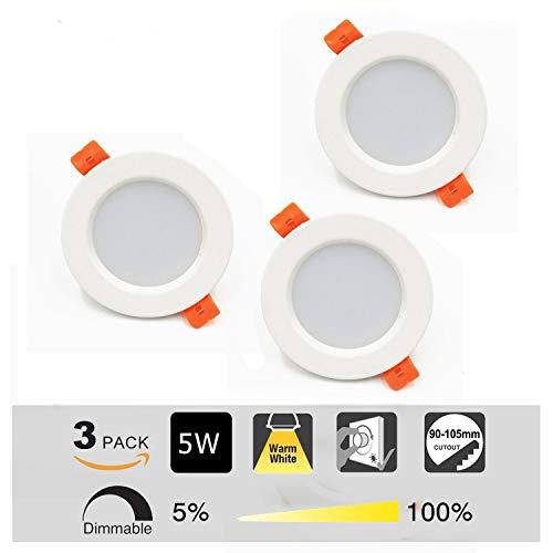 3x Ultra Piatto LED Faretto da Incasso per Bagno e Doccia - Lampada Bianco Caldo da Incasso per...