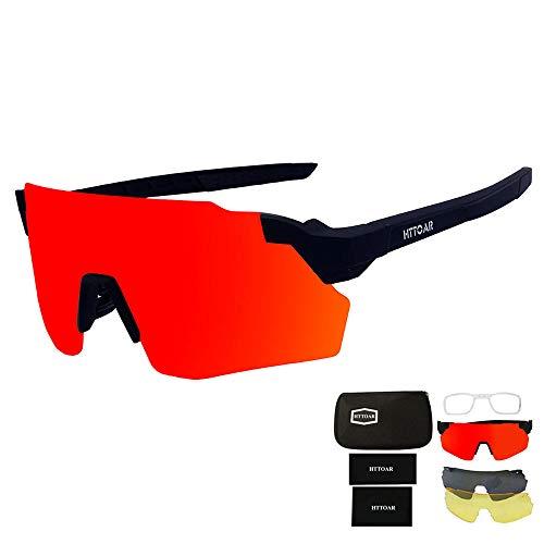 HTTOAR Gafas de Sol Deportivas,Gafas De Sol para Ciclismo con Proteccion Deportes al Aire Libre, Pesca, Ski, Conducción, Golf,Bicicleta,Ciclismo Gafas (Black)