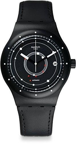 Swatch Herren Digital Automatik Uhr mit Leder Armband SUTB400