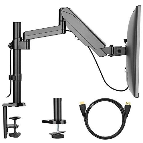 HUANUO Monitor Halterung, Schwenkbare Neigbare Bildschirmhalterung mit Gasdruckfeder Arm für Monitor von 17 bis 32 Zoll mit VESA 100x100,75X75mm, Max. Tragfähigkeit 8kg (1 Monitor)