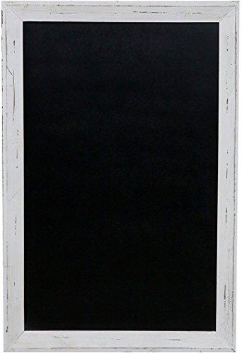Lavagna da parete verticale/orizzontale con cornice in legno finitura bianca anticata 80x3x120 cm