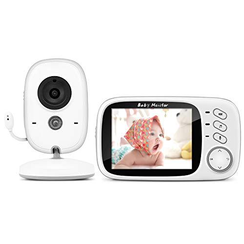 Baby Monitor Camera, BOIFUN 3.2'LCD Audio Digitale per Bambini, Trasmettitore Wireless 2,4 GHz fino a 260 m, Audio Bidirezionale, Visione Notturna, Monitoraggio della Temperatura, Cradlesong