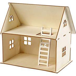 Construcción casa de muñeca, A. 25 cm, medidas 18x27 cm, madera contrachapada, 1ud, grosor 4 mm