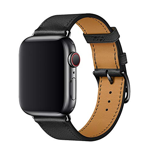XCool Cinturino Apple Watch 38mm 40mm, Pelle Nero per Donna Uomo per iwatch Serie 5 Serie 4 Serie 3 Serie 2 Serie 1