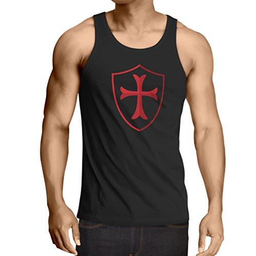 lepni.me Camisetas de Tirantes para Hombre Los Caballeros - Escudo de los templarios Orden Cristiana Caballero (Large Negro