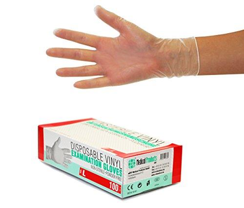 SF Guanti Monouso in Vinile da 1000 pezzi, 10 scatole (Taglia L, Trasparente), non sterile, senza...