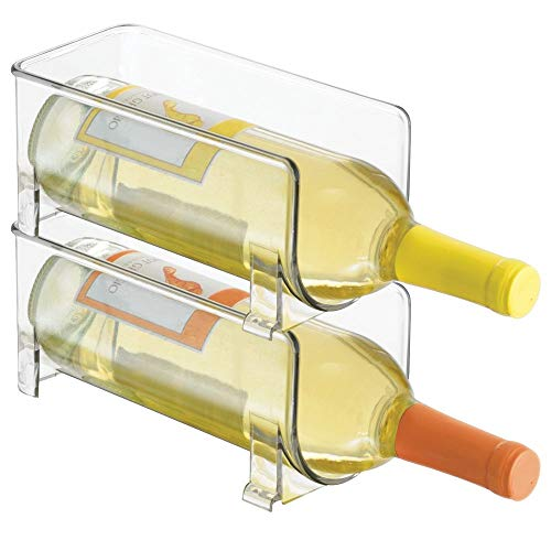 mDesign set da 2 portabottiglie vino - portabottiglie in plastica - porta vino impilabile per 2...