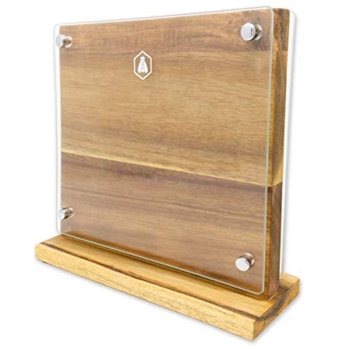 Laguiole Empty Wooden & Glass Block-40268431-Acacia Wood-Messerblock magnetisch ohne Messer, Echtholz/Glas, Braun, L