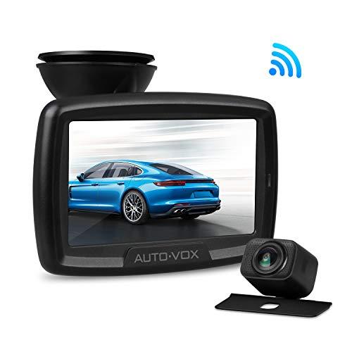 AUTO-VOX CS2 Telecamera per retromarcia wireless kit di videosorveglianza digitale trasmissione segnale stabile,sensore a colori 1/3CMOS,immagine fotocamera a specchio,monitor da 4,3'visione notturna