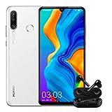 "Huawei P30 Lite + Free Buds -Smartphone de 6.15"", WiFi, Kirin 710, RAM de 4 GB, Memoria Interna de 128 GB, Cámara de 48 + 2 + 8 MP, Android 9, Blanco"