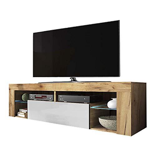 Selsey Hugo - Mobile TV in legno con patta e illuminazione a LED