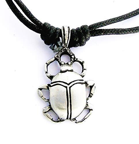 Estaño egipcio Escarabajo en el cable Collar colgante