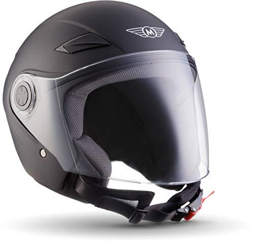 "Moto Helmets® U52 \""Matt Black\"" · Jet-Helm · Motorrad-Helm Roller-Helm Scooter-Helm Bobber Mofa-Helm Chopper Retro Cruiser Vintage Pilot Biker Helmet · ECE Visier Schnellverschluss Tasche L (59-60cm)"