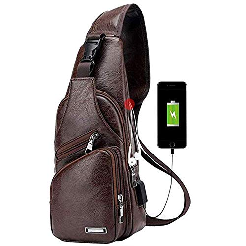TASLAR Travel Crossbody Backpack Shoulder Chest Bag Lightweight with Charging Port for Men Women Boys Girls (Dark Brown)
