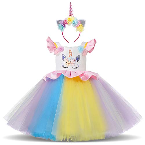 OBEEII Costume da Unicorno Arcobaleno Vestito Elegante da Ragazza Tutu Floreale Principessa Festa Cerimonia Carnevale Compleanno Halloween Natale Fotografia Abiti per Bambine 18 Mesi 002