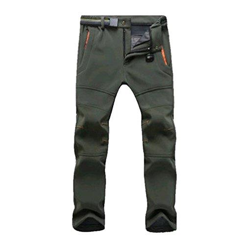 YiLianDa Pantalones de Trekking Pantalones de Softshell Impermeables Resistente al Viento Transpirable Lana Forrado Pantalones de Escalada