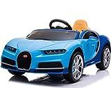 RIRICAR Elektroauto für Kinder Bugatti Chiron, Blau, Originallizenz, Batteriebetrieben, Türen öffnen, Ledersitz, 2X Motor, 12 V Batterie, 2,4 GHz Fernbedienung, weiche Eva Räder, Sanfter Start