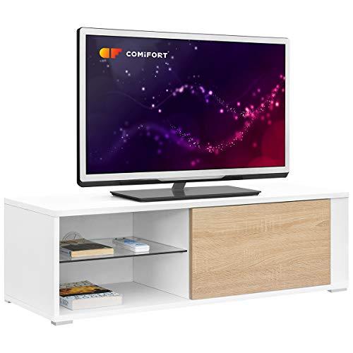 comifort tv80-Mobile TV Soggiorno Moderno tavolo TV, Colori: Bianco, Legno di quercia,...