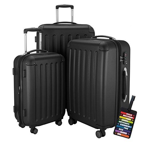HAUPTSTADTKOFFER® Hartschalen Koffer SPREE 1203 · NEU 4 Doppel-Rollen · MATT · TSA Zahlenschloss · + KOFFERANHÄNGER (Schwarz, Set)