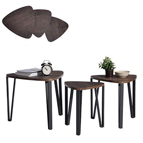 Aingoo Tavolini Sovrapponibili Set di 3, tavolini da caffè, tavoli da Soggiorno con Gambe in Ferro...