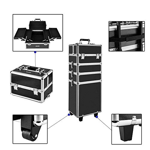 AMASAVA 4 in 1 Trolley professionale Caso di trucco Rolling Trolley Nail Box Cosmetici Beauty Case...