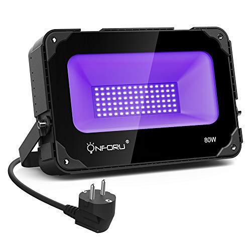 Onforu 80W Faretto UV LED Luce Nera con Ventola Ultravioletto Blacklight, Proiettori per Esterno...