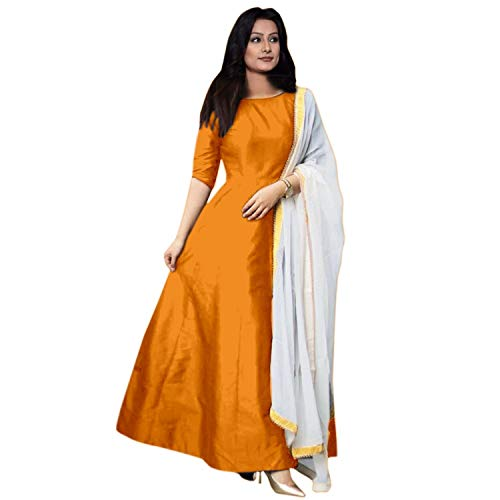 Vibha Enterprise Women's A-Line Knee-Long Plain Gown With Dupatta (Free-Size) (Orange)