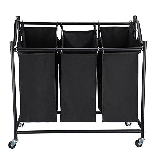 Wäschesortierer,KINLO Wäschekorb Wäschesammler auf Rollen mit 3 Fächern 360° drehenbar aus 600D Oxford + Robustes Stahlrohr Wäschesortierer faltbar Wäschewagen in Badezimmer