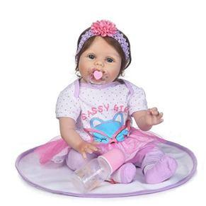 Juego de roles Juego de juguetes para niños Guardería Bebé Muñeca viva Bebé realista Bebé recién nacido Muñeca Realista Con ropa Accesorios para el cabello Juguetes de alimentación Botella de leche Be