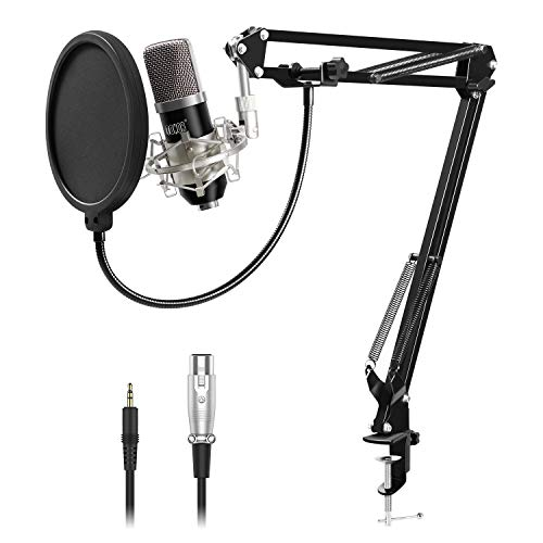 TONOR XLR zu 3.5 mm Kondensator-Mikrofon Kit Schall Podcast Studio Rundfunk & Aufnahme Microphone für Computer mit Popschutz und Verstellbarem Mikrofonhalter Mikrofonarm Mikrofonständer