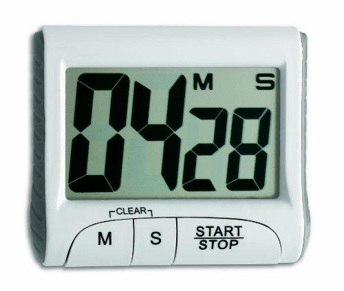 TFA Dostmann 38.2021, Digitaler Timer, mit Stoppuhr, Memory-Funktion, großes Display, weiß