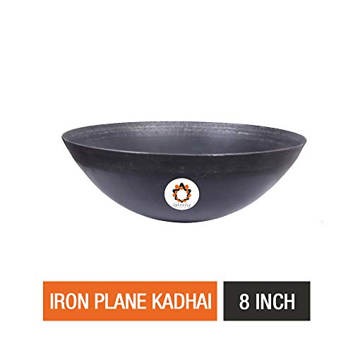 Akky Iron Handmade Plane Fry Kadhai/Pan   Lokhandi Kadai for Cooking and Deep Frying Without Handle (8 inch / 20.3 cm)