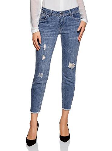 oodji Ultra Donna Jeans con Strappi ed Orlo Grezzo, Blu, 27W / 32L (IT 42 / EU 38 / S)