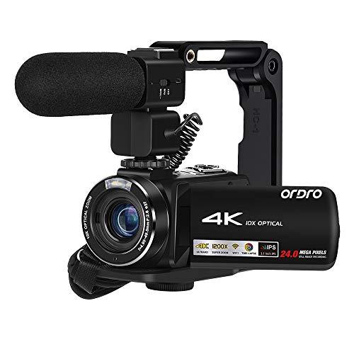 Videocamera 4K, Touch Screen ad Ultra Alta Definizione ORDRO IPS da 3,1 Pollici Zoom Ottico 10X,...
