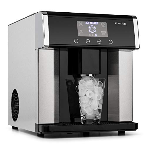 KLARSTEIN Eiszeit - Macchina per Cubetti di Ghiaccio, 3 Diverse Forme, 10-15 kg/24 H, Display LCD,...
